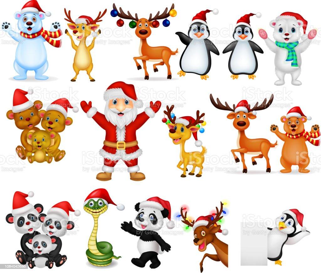Dessin Anime Noel Avec De Nombreux Animaux Collection Ensemble