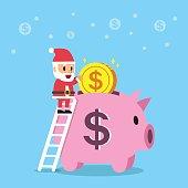 Cartoon santa claus with piggy bank for design.