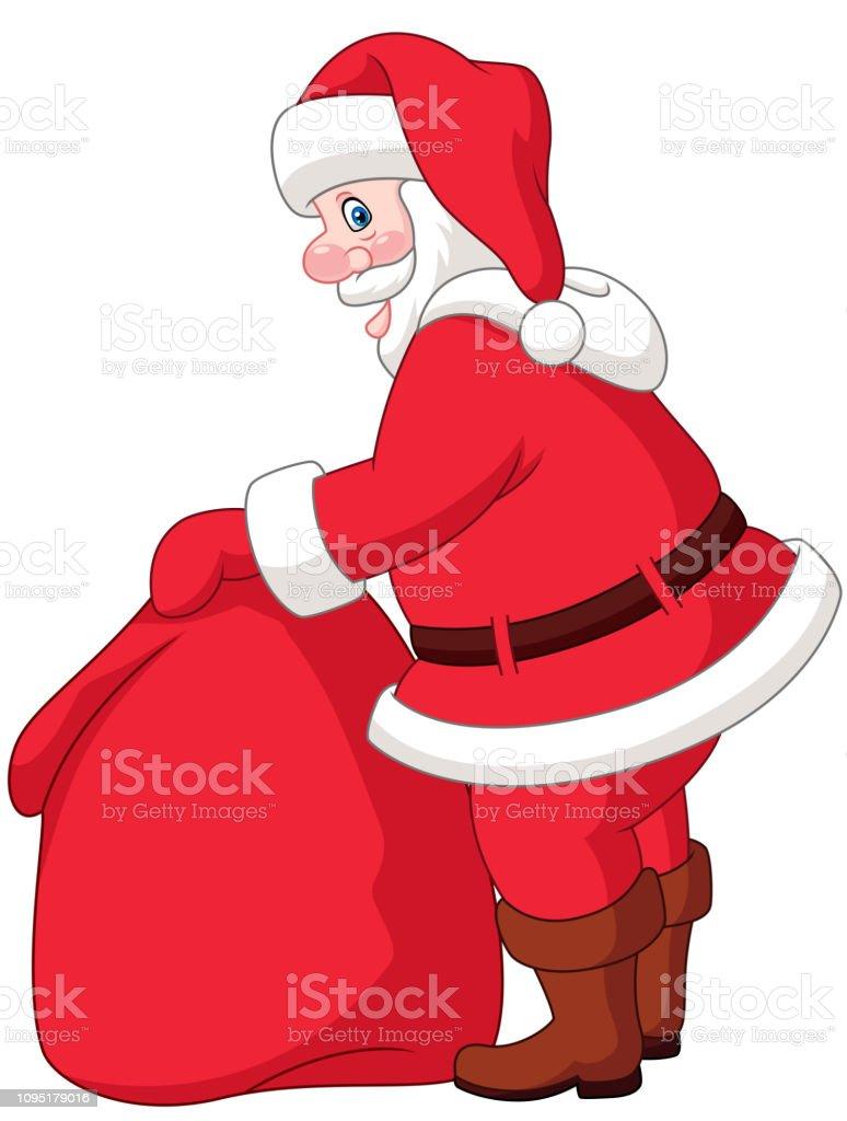 Cartoon Weihnachtsmann Mit Der Tasche Der Geschenke Stock
