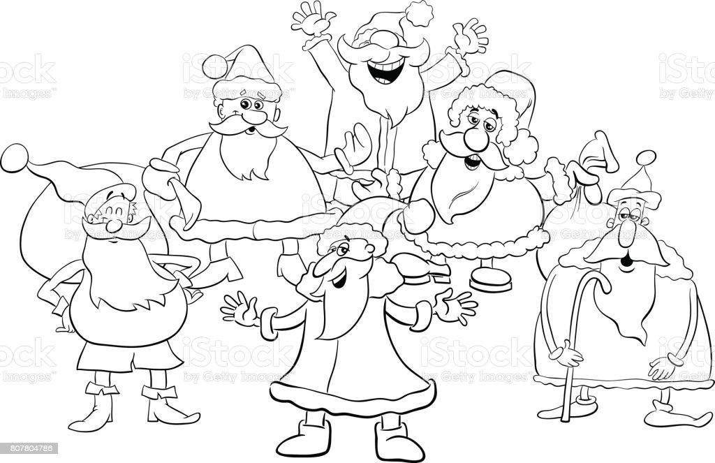 Ilustración de Página Para Colorear De Santa Grupo De Dibujos ...