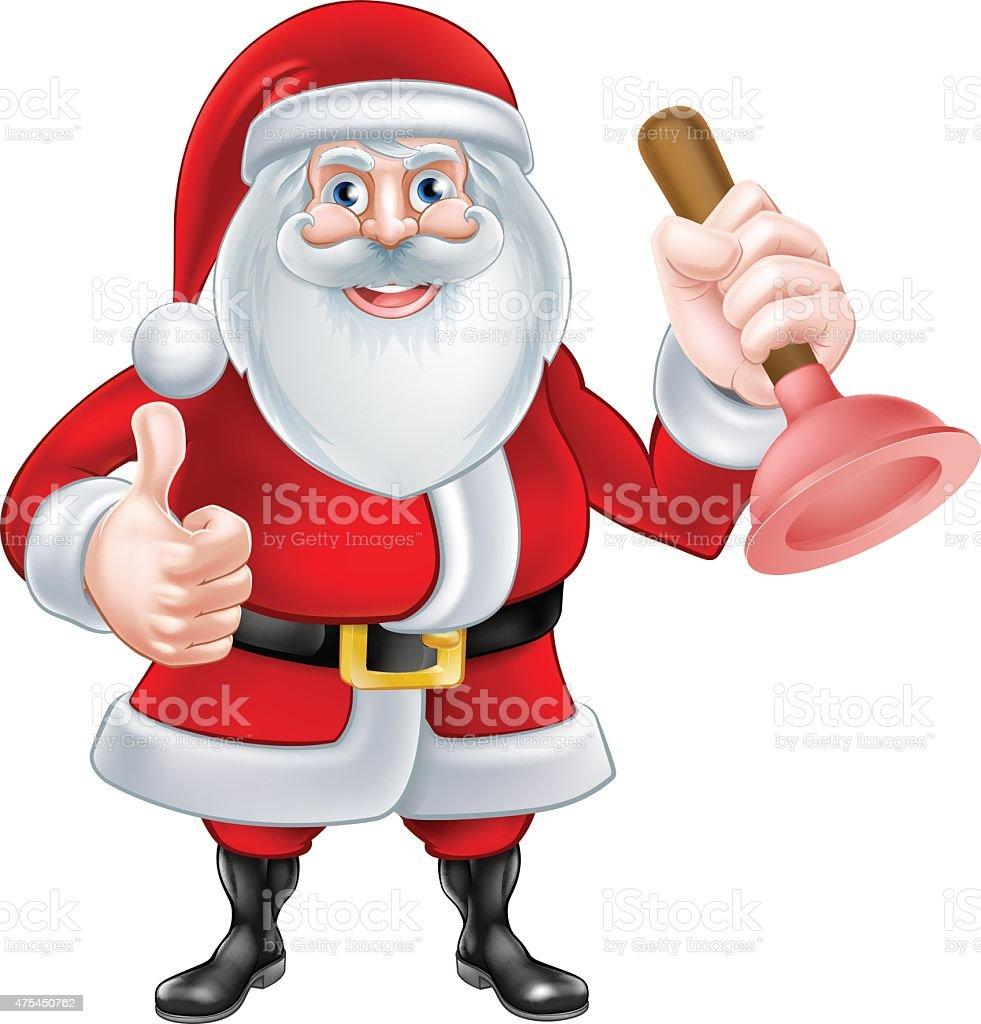 Comic Weihnachtsmann Hält Ein Saugglocke Stock Vektor Art