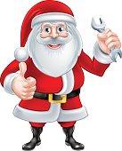 Cartoon Santa Holding a Spanner