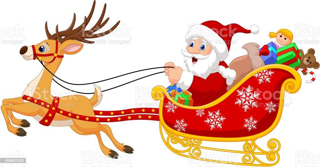 Ilustración De Dibujos Animados De Su Navidad Santa Con