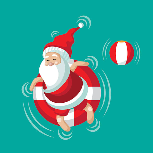 Cartoon Santa relaxing in an inner tube Cartoon Santa relaxing in an inner tube on the tropical sea. Christmas in June, July, August, for poster, marketing, advertising, summer sale, greeting card, social media, facebook, twitter. EPS 10 vector illustration. one senior man only illustrations stock illustrations