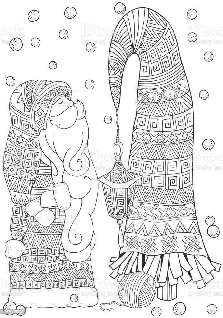 Ilustración de Dibujos Animados Santa Con árbol De Navidad Feliz ...