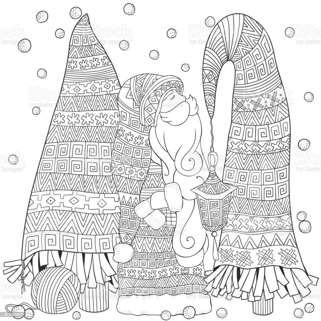 Vetores De Desenhos Animados Santa Com Arvores De Natal Feliz