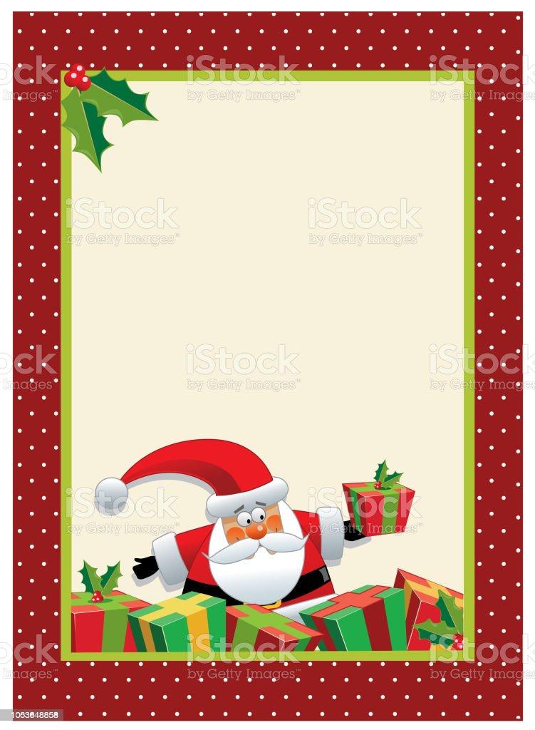 Carte Noel Australie.Dessin Anime Santa Avec Carte De Voeux De Noel Cadeaux Ou