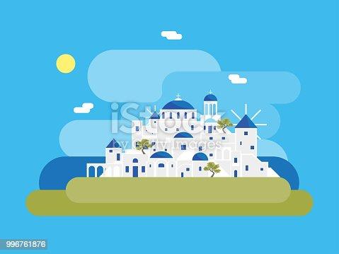 Cartoon Santorini Island Village Travel and Tourism Concept Element Flat Design Style. Vector illustration of Greek Vacation