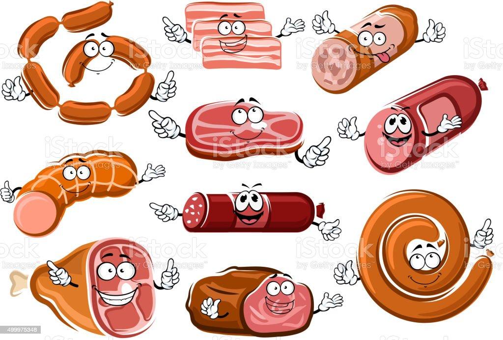 Dessin De Saucisses De Bacon De La Viande Et Roti De Bœuf