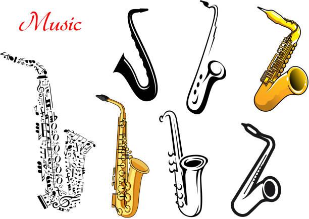 Saxophone clip art vector images illustrations istock - Saxophone dessin ...