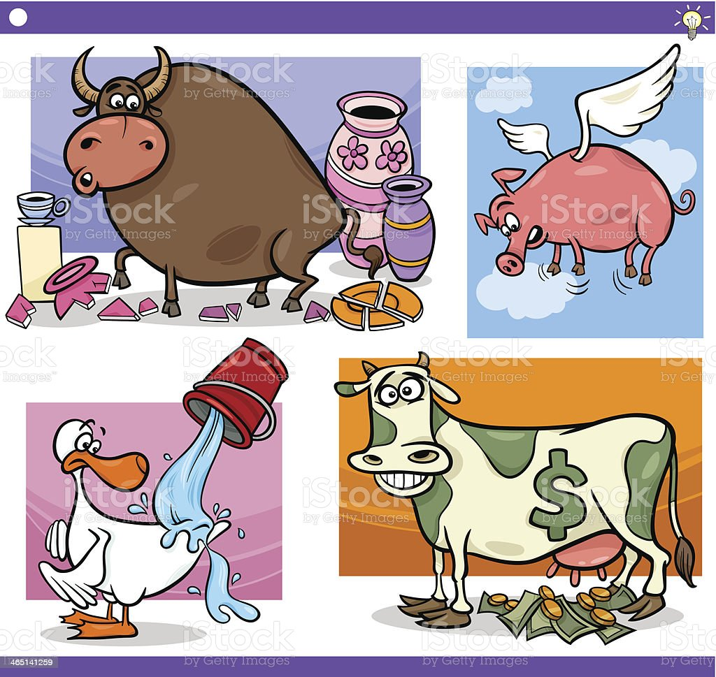 cartoon sayings or proverbs concepts set vector art illustration