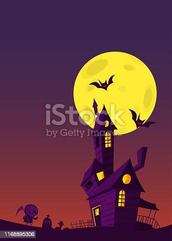 Cartoon haunted house. Halloween night background with full moon