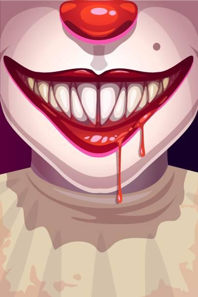 illustrazioni stock, clip art, cartoni animati e icone di tendenza di cartoon scary movie poster with creepy clown face. - thriller