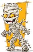 Cartoon scary mummy with yellow eyes