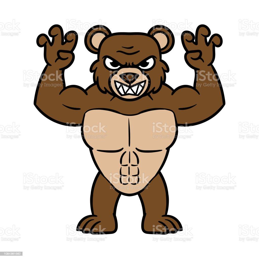 Vetores De Desenhos Animados Assustador Urso Musculoso E Mais Imagens De Agressao Istock