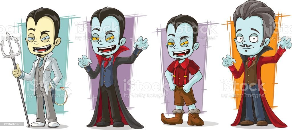 Cartoon scary pale vampire family characters vector set vector art illustration