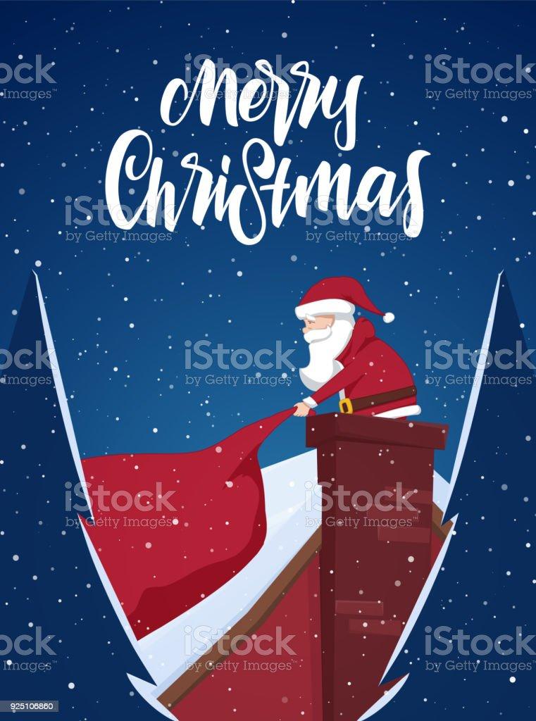 Cartoonszene Santa Claus Zieht Eine Schwere Tasche Voller Geschenke ...