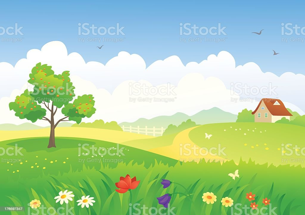 A cartoon scene set in a field with a house royalty-free stock vector art