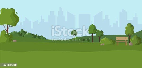 istock Cartoon scenery or green park outdoor 1221834318