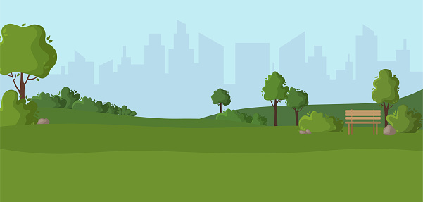 Cartoon scenery or green park outdoor