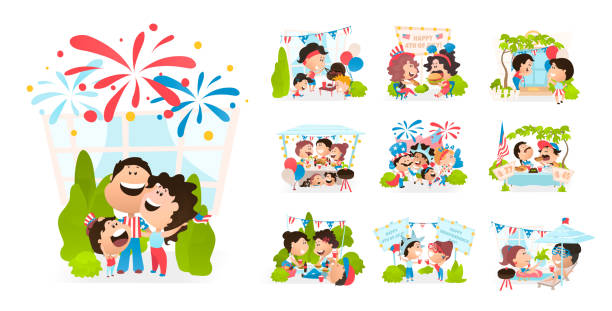 cartoon scenes of american people celebrating independence day. - family 4th of july stock illustrations