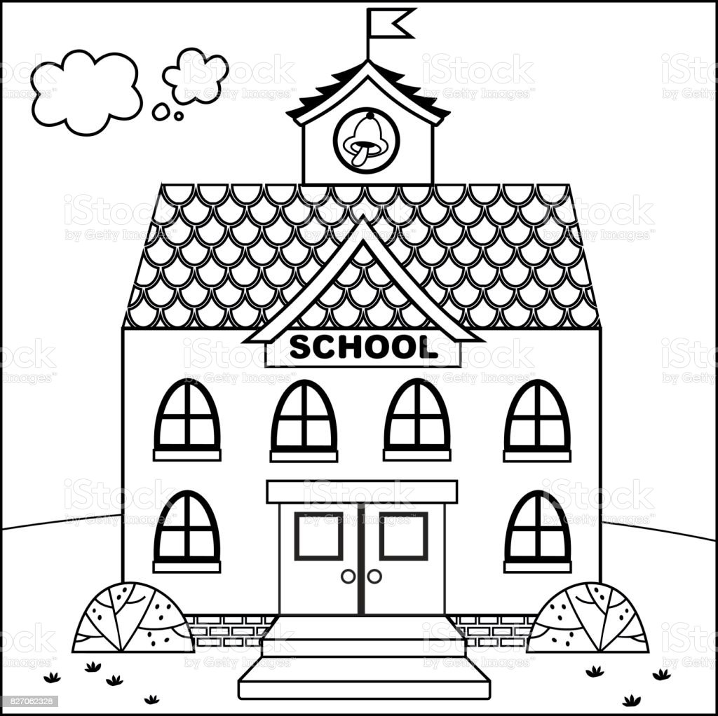 Cartoon school building stock vector art more images of for School building coloring pages