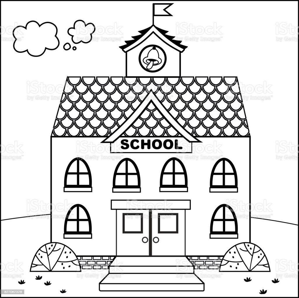 Cartoon School Building (Vector illustration) vector art illustration