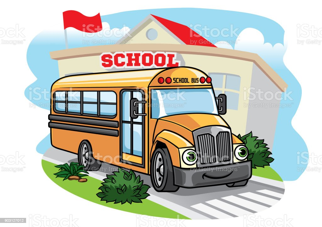 cartoon school bus illustration t the school vector art illustration