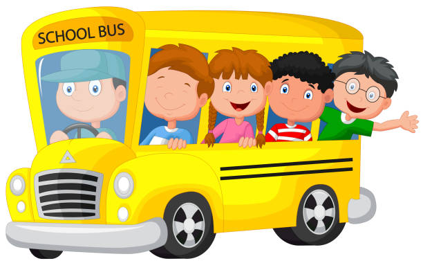 学校バスにお子様カットイラスト、ハッピーな - スクールバス点のイラスト素材/クリップアート素材/マンガ素材/アイコン素材