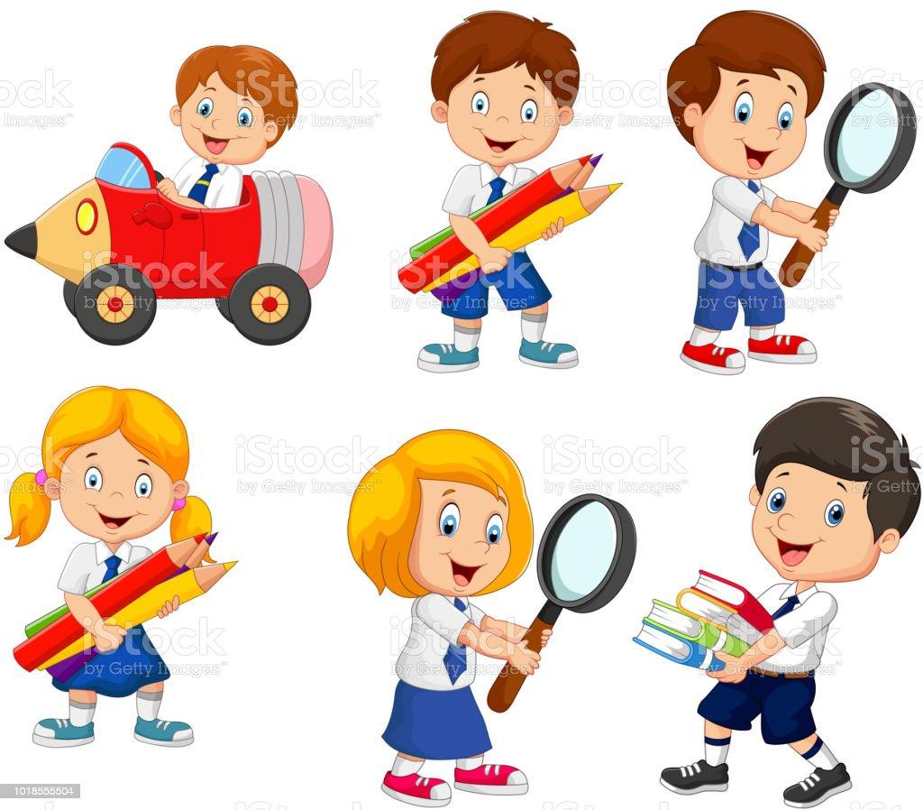 Ilustración De Colección De Dibujos Animados De Niños De La Escuela