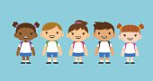 Cute cartoon diverse children wearing school uniform with backpacks. Different skin tones and hair styles.