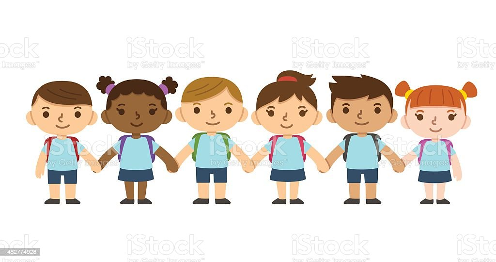 Cartoon School Children Stock Vector Art & More Images of ...