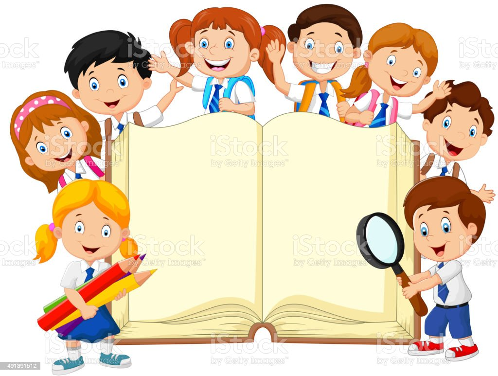 Cartoon school children with book isolated vector art illustration