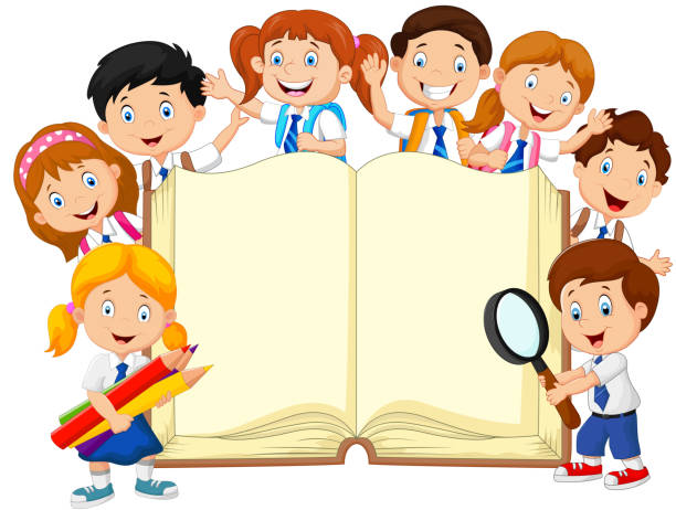 cartoon school children with book isolated - primary school stock illustrations, clip art, cartoons, & icons