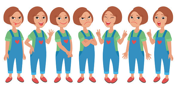 Set of different standing poses and facial expressions. Vector illustration isolated on background