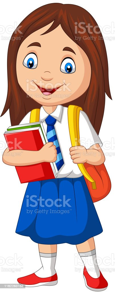 Cartoon School Girl In Uniform With Book And Backpack Stock Illustration - Download Image Now - iStock