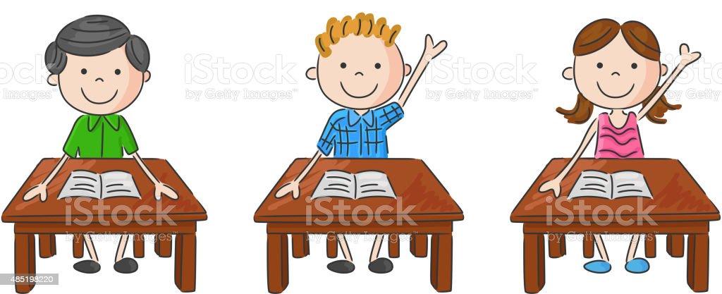 comic schule kinder sitzen am tisch stock vektor art und mehr bilder von 2015 485198220 istock. Black Bedroom Furniture Sets. Home Design Ideas