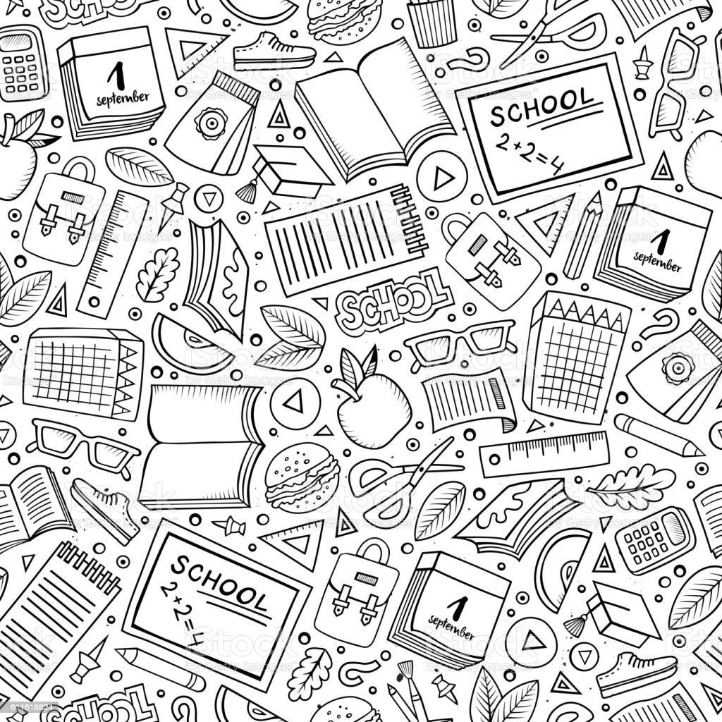 Cartoon School seamless pattern - ilustração de arte em vetor