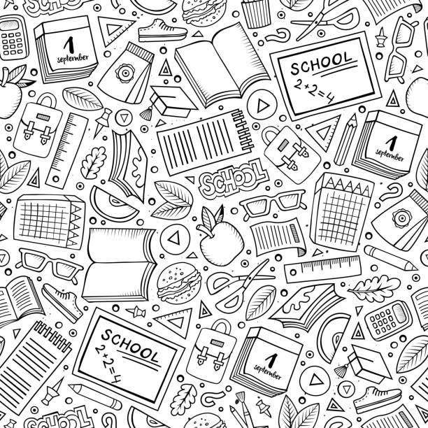 cartoon school seamless pattern - 数学の授業点のイラスト素材/クリップアート素材/マンガ素材/アイコン素材