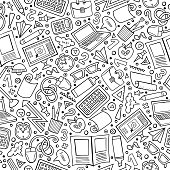 Cartoon cute hand drawn Science seamless pattern. Line art detailed, with lots of objects background. Endless funny vector illustration. Sketchy scientific backdrop.