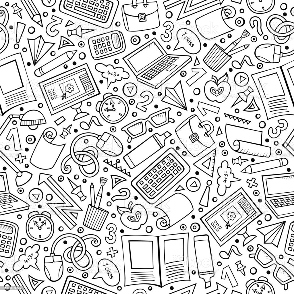 Cartoon School seamless pattern vector art illustration