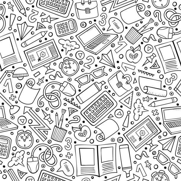 Cartoon School seamless pattern - Illustration vectorielle