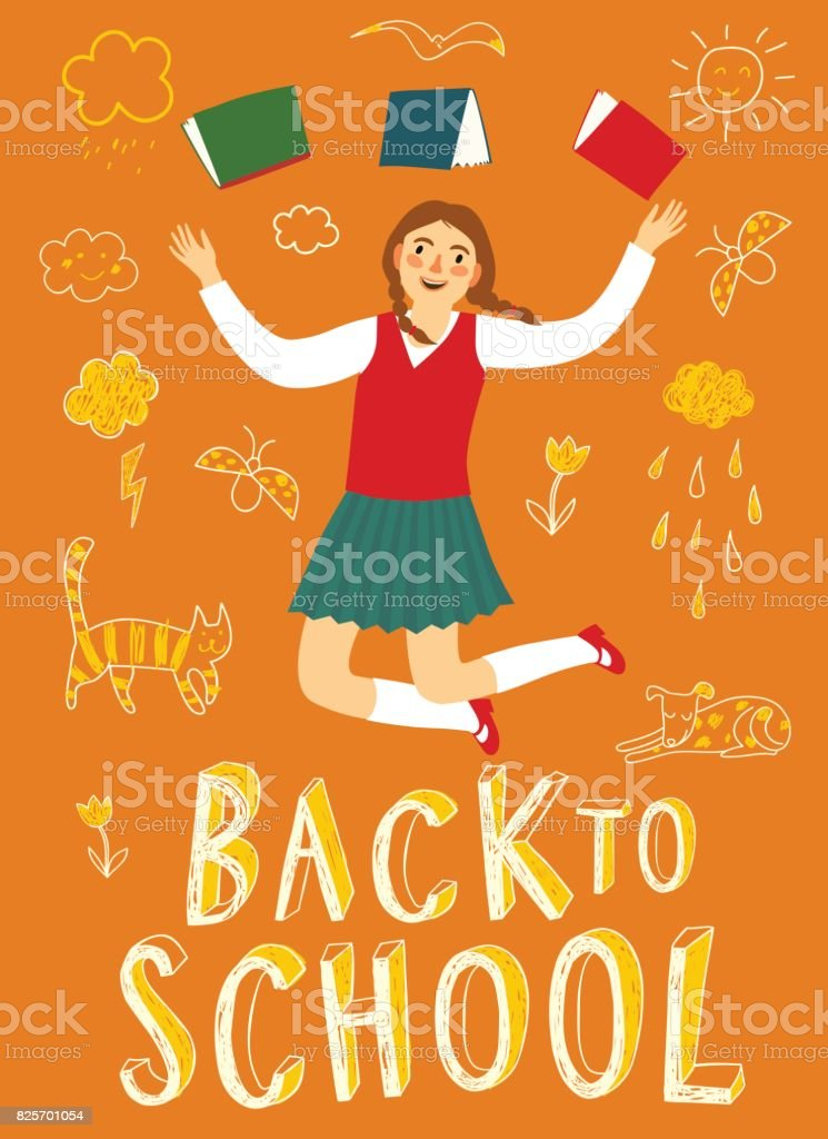Cartoon schoolgirl jumping with books vector art illustration