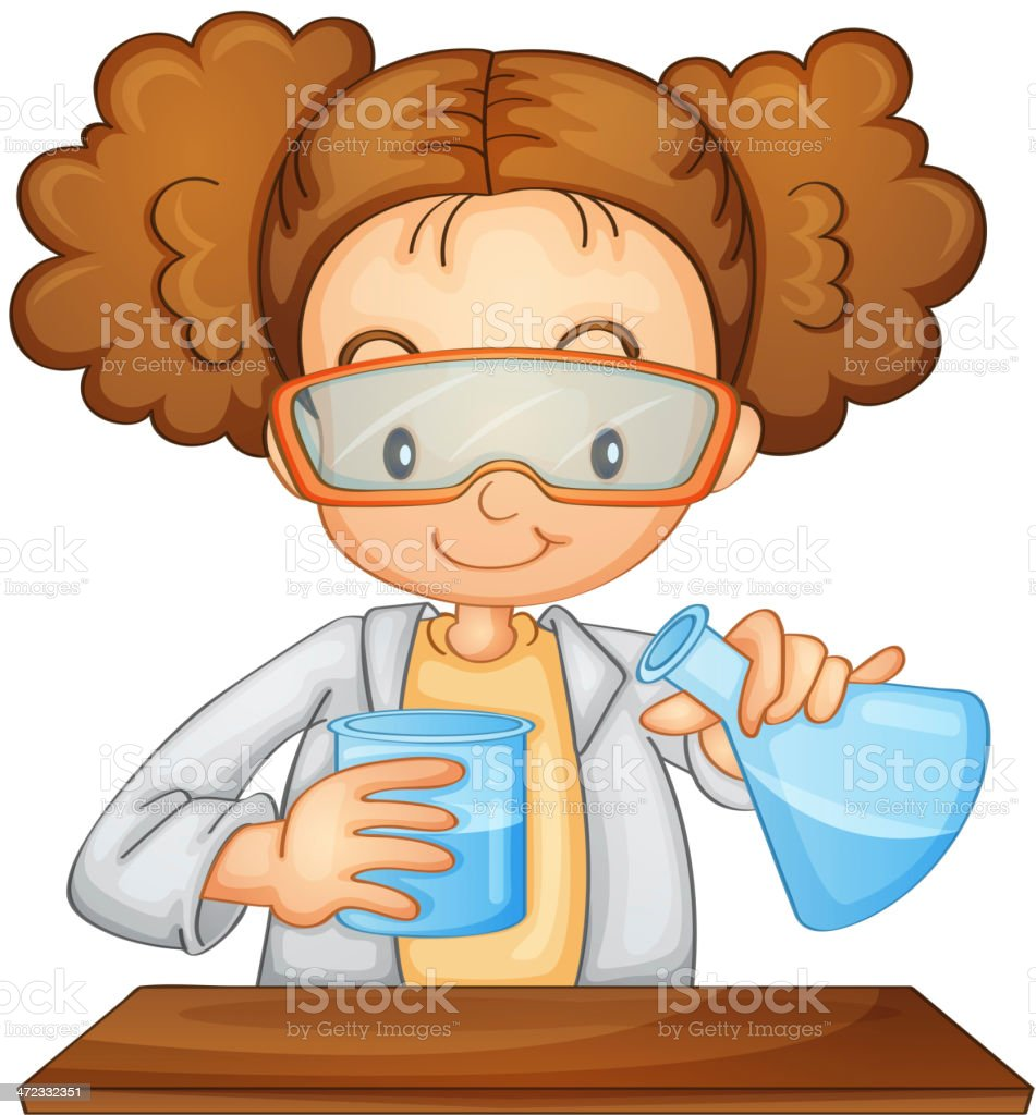Cartoon Scientist Girl Doing An Experiment stock vector ...