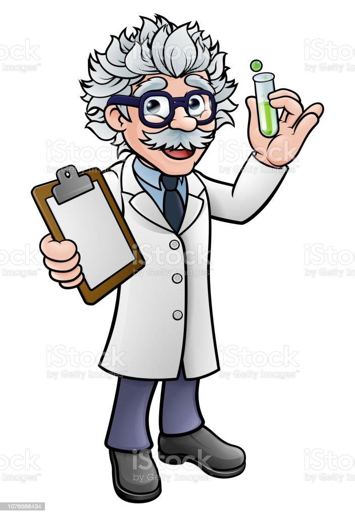 Cartoon Scientist Holding Test Tube and Clipboard vector art illustration
