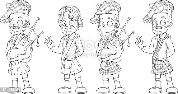 istock Cartoon scottish with bagpipe character vector set 824263254