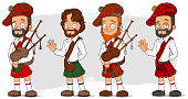 Cartoon scottish with bagpipe characters set