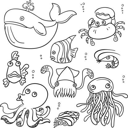 Cartoon sea animal in black and white