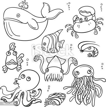 istock Cartoon sea animal in black and white 165900834
