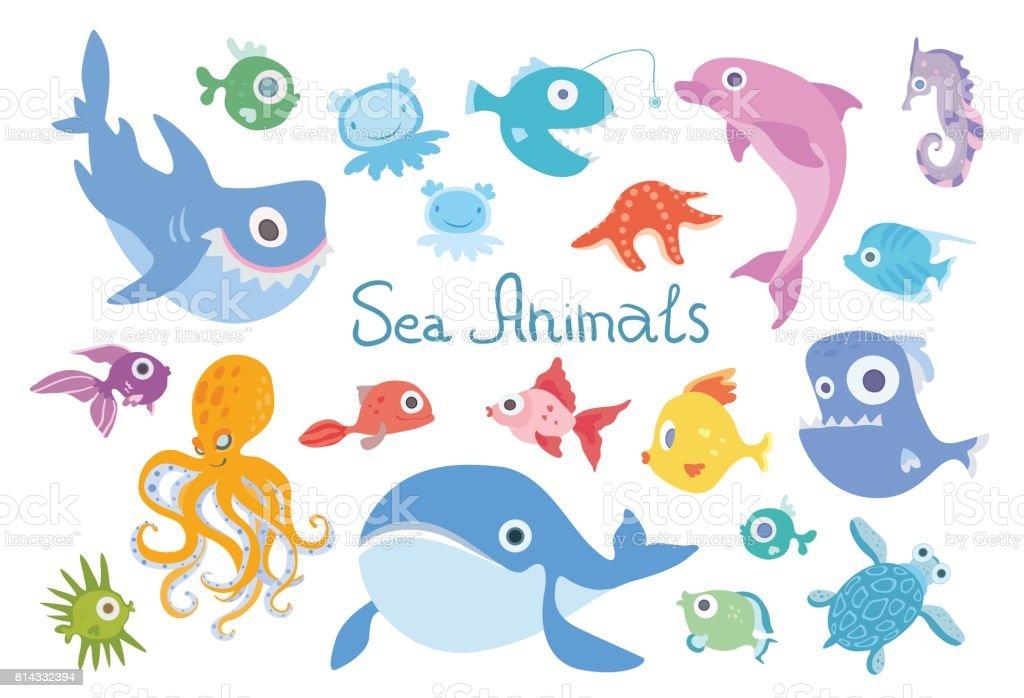 Cartoon Sea Animals Set Whale Shark Dolphin Octopus And ...